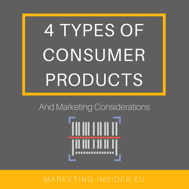 4 Types of Consumer Products and Marketing Considerations - Convenience, Shopping, Speciality and Unsought Products