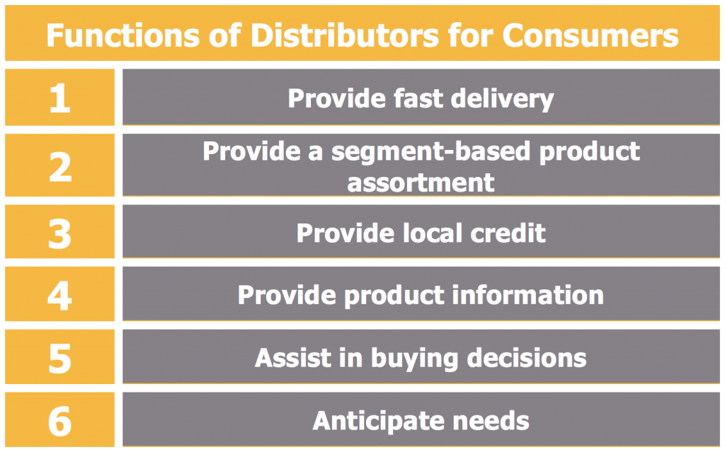 Functions of Distributors for Consumers