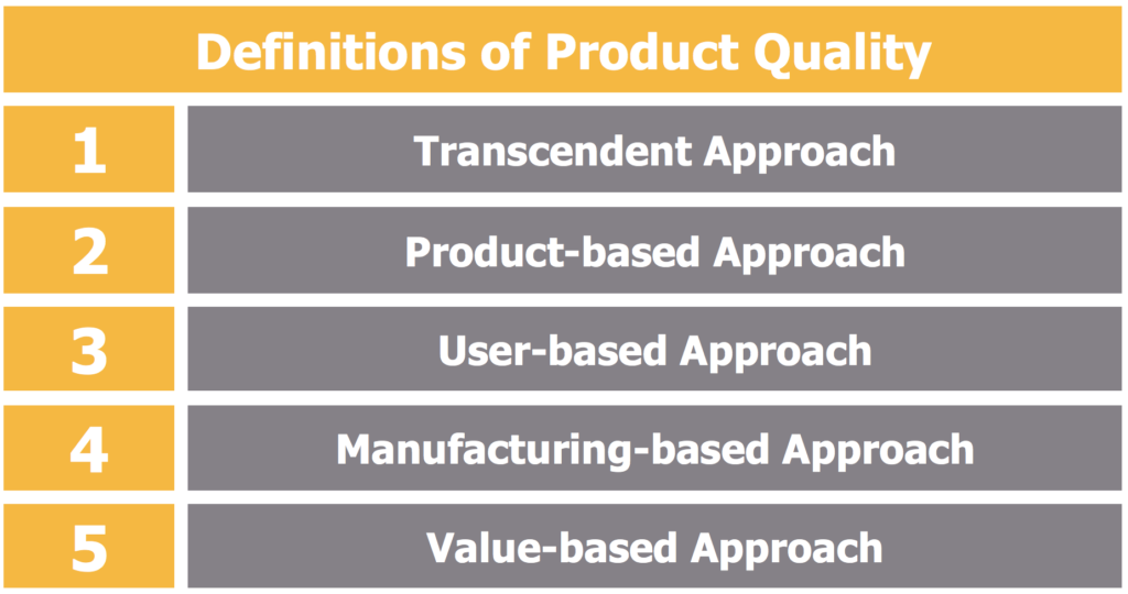 Definitions of Product Quality – Different Approaches to Quality